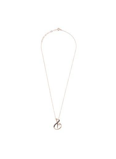 Coquet Accessories Rose Gold Elif Vav Gümüş Kolye Pembe